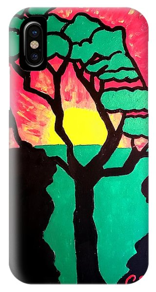 IPhone Case featuring the painting African Sunset  by Christopher Farris