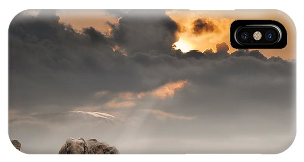 Dusk iPhone Case - African Sunset With Elephants by Oleg Znamenskiy