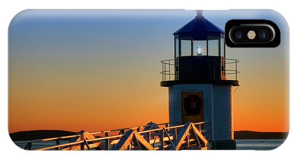 Port Orange iPhone Case - After Sunset At Marshall Point Lighthouse  by Olivier Le Queinec