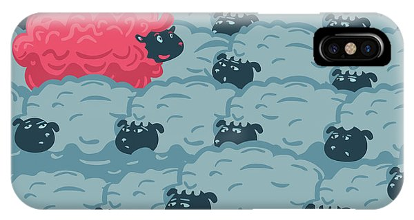 Grey Background iPhone Case - Against The Crowd. One Pink Sheep In by Ne2pi