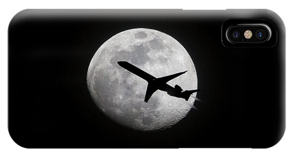 Airliner Passing In Front Of A Full Moon IPhone Case