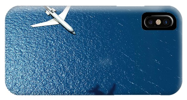 Shadow iPhone Case - Airplane Flies Over A Sea by Photobank Gallery