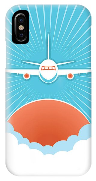 Flight iPhone Case - Airplane In Blue Sky And Sun.vector by Tancha