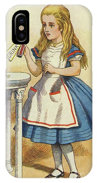 Potion iPhone Case - Alice Discovers A Bottle Marked Drink Me by John Tenniel