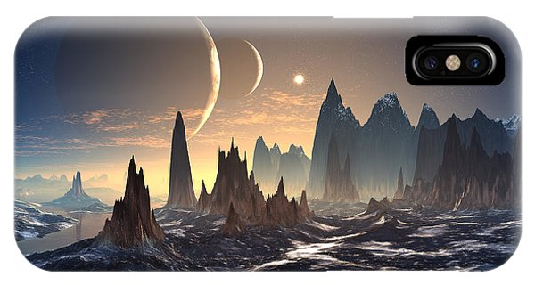 Planet iPhone Case - Alien Planet With Two Moons by Diversepixel