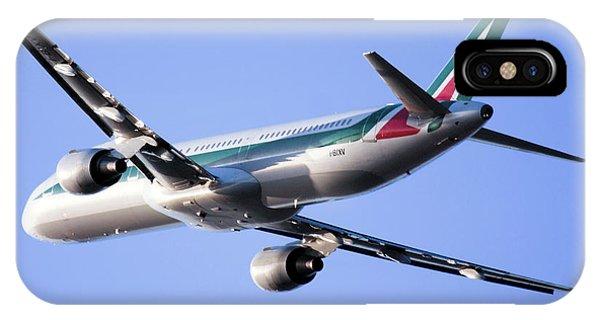 Alitalia iPhone Case -  Alitalia Commercial Flight E2 by Nir Ben-Yosef