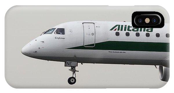 Alitalia iPhone Case - Alitalia Embraer 190 And Bird  by David Pyatt
