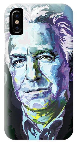 Snape iPhone Case - Allan Rickman Portrait In Blue by Garth Glazier