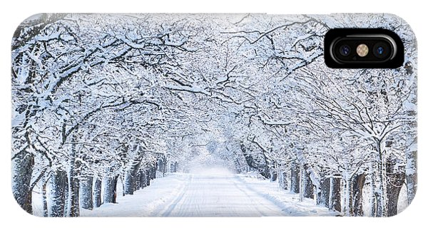Snowy Road iPhone Case - Alley In Snowy Morning by Lemanna