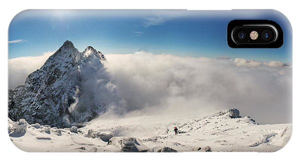 Discovery iPhone Case - Alpinist Climbing On Rysy Mountain Peak by Dmytro Gilitukha