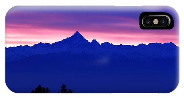 Wallpaper iPhone Case - Alps Landscape At Sunset With The by Guido Bissattini
