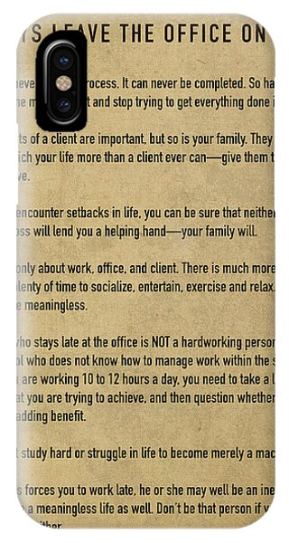 Office iPhone Case - Always Leave The Office On Time A Workplace And Career Life Balance Manifesto by Design Turnpike