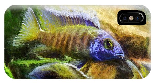 IPhone Case featuring the digital art Amazing Peacock Cichlid by Don Northup