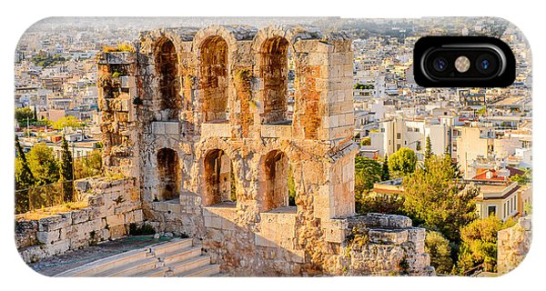 Old Building iPhone Case - Amphitheater Of The Acropolis Of by Anton ivanov