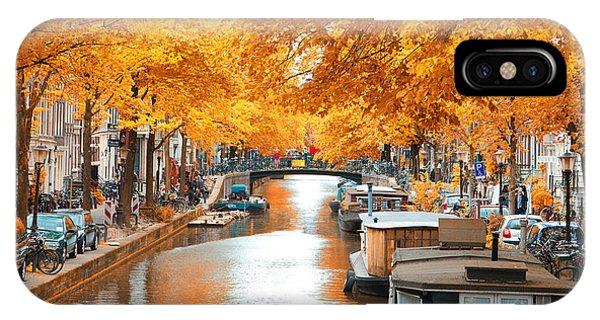 Travel Destination iPhone Case - Amsterdam Autumn. Beautiful Places In by Skreidzeleu