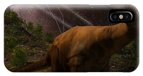 Death iPhone Case - An Apatosaurus Looks Upon Meteors by Auntspray