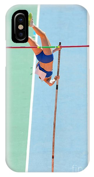 Achievement iPhone Case - An Athlete Attempts Successful A Pole by Maxisport
