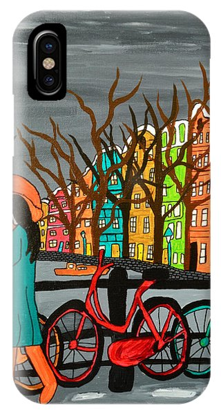 Grey Skies iPhone Case - An Original Acrylic Painting On Canvas by Simon Booth