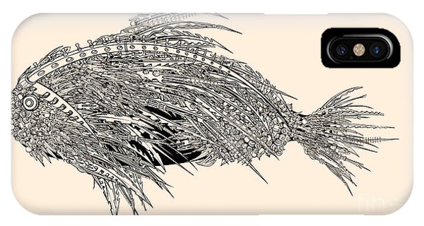Spines iPhone Case - Anatomy Of A Fish. Robot Spiked Fish by Ryger