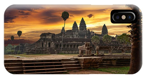Spirituality iPhone Case - Angkor Wat At Sunset by Muzhik