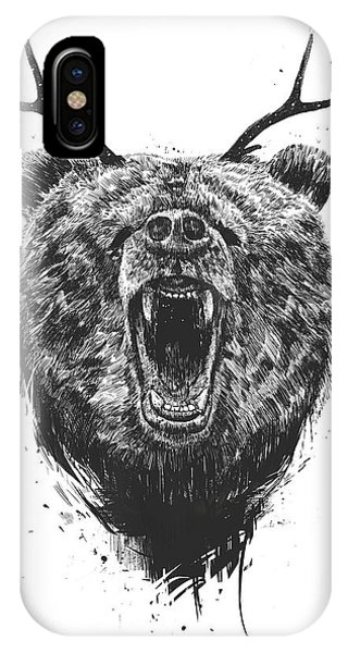Illustration iPhone Case - Angry Bear With Antlers by Balazs Solti