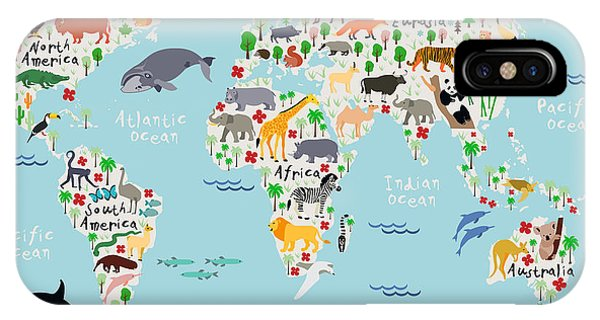 Parrots iPhone Case - Animal Map Of The World For Children by Moloko88