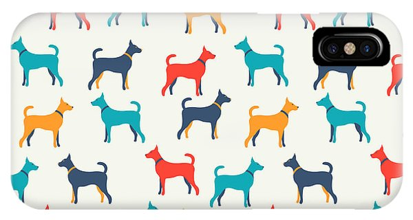 Baby Blue iPhone Case - Animal Seamless Vector Pattern Of Dog by Kannaa