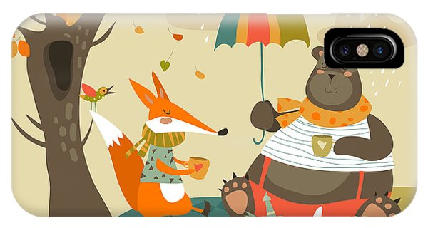 Kettles iPhone Case - Animals At Picnic In Autumnal Forest by Maria Starus