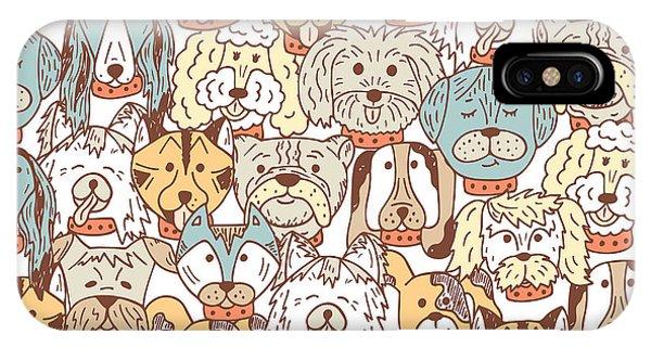 Animals. Dogs Vector Seamless Pattern Phone Case by Allnikart