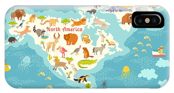 Lynx iPhone Case - Animals World Map, North by Rimma Z