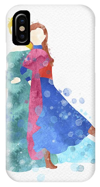 Freeze iPhone Case - Anna And Elsa Watercolor by Mihaela Pater