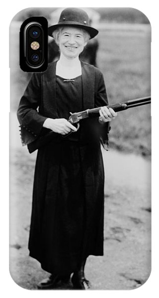 Sharpshooter iPhone Case - Annie Oakley Holding Rifle - 1922 by War Is Hell Store