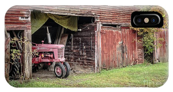 New England Barn iPhone Case - Antique Farmall Tractor Poking Out Of The Old Barn by Edward Fielding