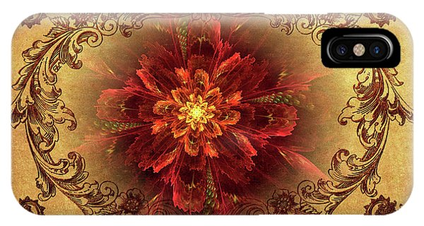 Antique Foral Filigree In Crimson And Gold IPhone Case