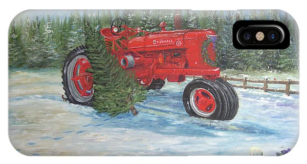 Antique Tractor At The Christmas Tree Farm IPhone Case