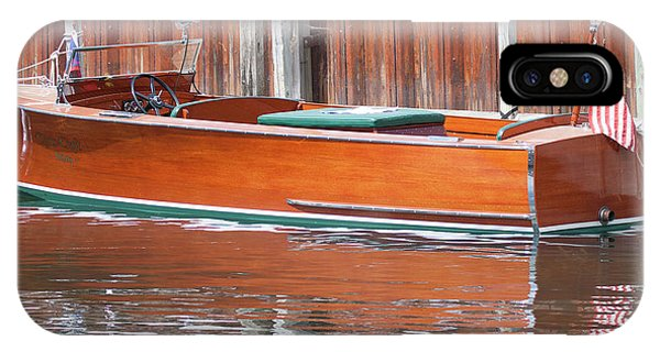 Antique Wooden Boat By Dock 1302 IPhone Case