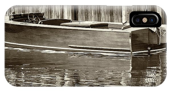 Antique Wooden Boat By Dock Sepia Tone 1302tn IPhone Case