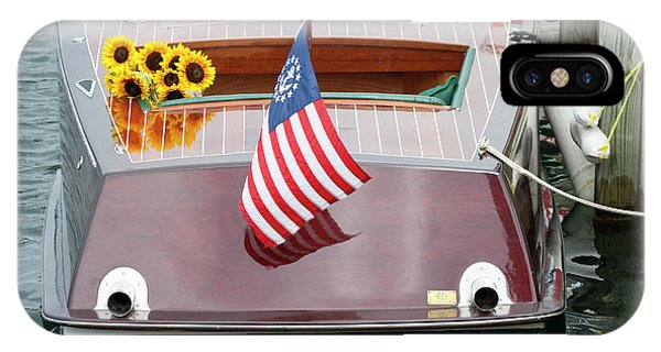 Antique Wooden Boat With Flag And Flowers 1304 IPhone Case