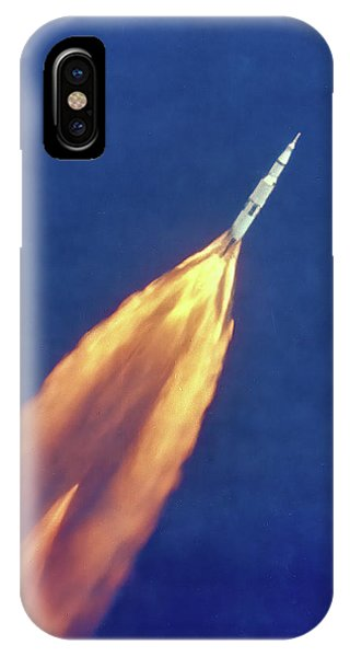 Liftoff iPhone Case - Apollo 11 Launch - High Altitude View Color by Nasa