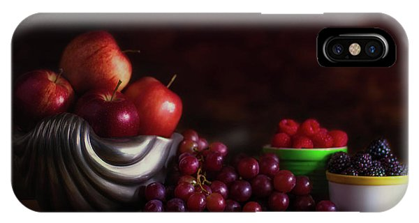 Fruit Bowl iPhone Case - Apples With Grapes And Berries Still Life by Tom Mc Nemar
