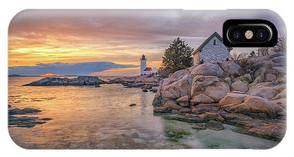April Sunset At Annisquam Harbor Lighthouse IPhone Case