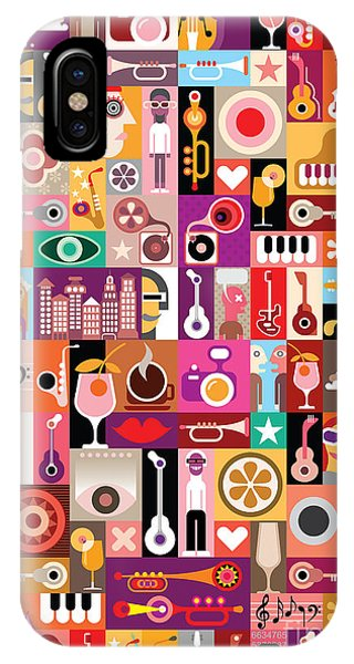 Seamless iPhone Case - Art Collage, Musical Vector by Danjazzia