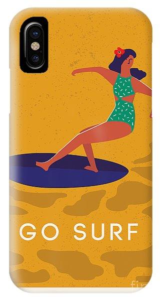 Surfboard iPhone Case - Art Deco Surf Poster In Vector. Summer by Nicetoseeya