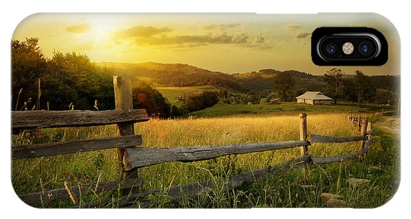 Farmland iPhone Case - Art Rural Landscape. Field And Grass by Konstanttin