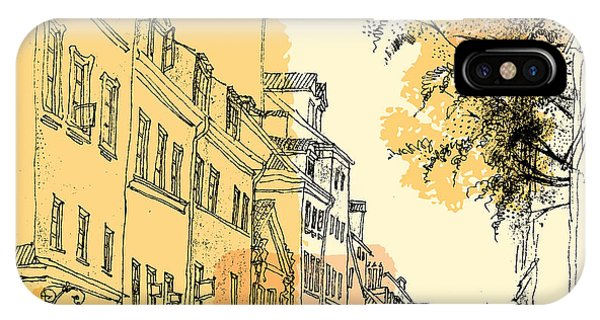 Sketch Pen iPhone Case - Artistic Illustration Of A Street In by Babayuka