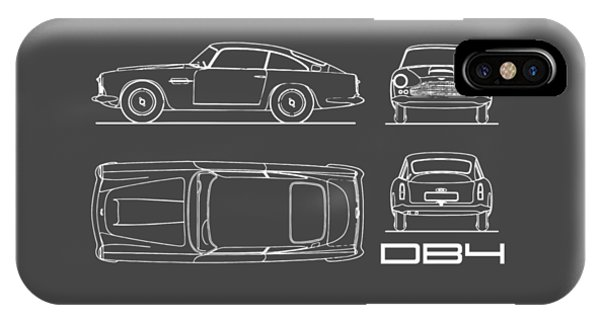 Martin iPhone Case - Aston Martin Db4 Blueprint by Mark Rogan