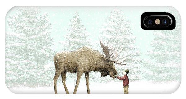 Boys iPhone Case - Winter Moose by Eric Fan