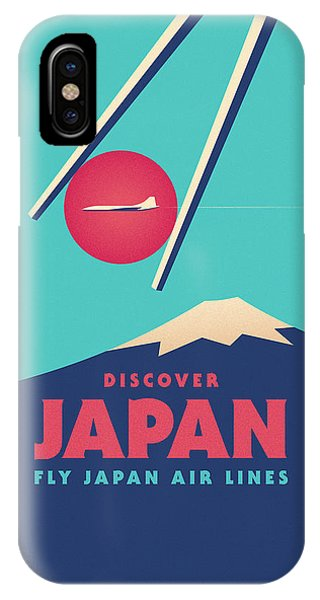 Travel iPhone Case - Retro Japan Mt Fuji Tourism - Cyan by Ivan Krpan