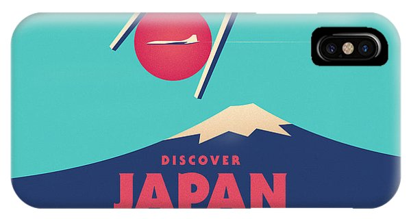Travel iPhone Case - Retro Japan Mt Fuji Tourism - Cyan by Ivan Krpan