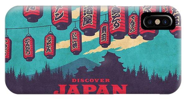 Castle iPhone Case - Japan Travel Tourism With Japanese Castle, Mt Fuji, Lanterns Retro Vintage - Blue by Ivan Krpan